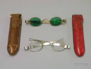 Two Pair of American Coin Silver Spectacles