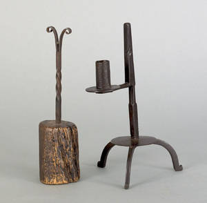 Two wrought iron rush light holders 18th c