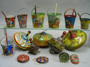 Fifteen Lithographed Tin Toys