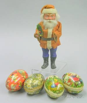 PapierMache Santa Candy Container and Four Easter Egg Containers