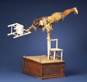 Rare CoinOperated Vichy Automaton Gymnast with Two Chairs