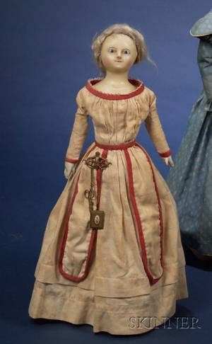 Early Wax Over Composition Shoulder Head Doll