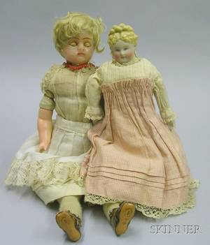 Poured Wax Doll and a Parian Shoulder Head Doll