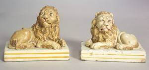Pair of Wood  Caldwell Pearlware Lions