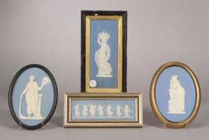 Four Wedgwood Solid Light Blue Jasper Plaques