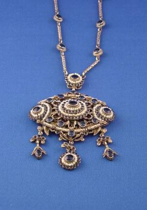 Hungarian Gilt Silver Blue Glass and Seed Pearl Pendant Necklace