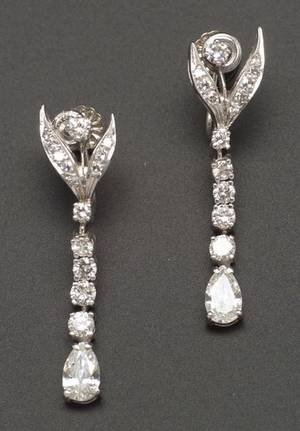 Pair of 14kt White Gold and Diamond Drop Earrings