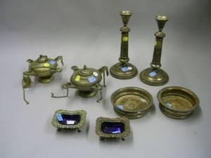 Pair of Persian Silver Lamps a Pair of Silver Plated Wine Coasters Candlesticks and a pair Salts