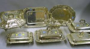 Nine Silver Plated Serving Trays and Covered Serving Dishes