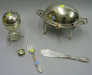 Silver Plated Egg Coddler Fish Knife and Fork Salt and a Domed Serving Dish on Stand