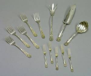 Set of Six Steiff Repousse Sterling Silver Fish Fork Two Gorham Sterling Silver Serving Items and a Set of Fiv