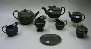 Eight Pieces of Assorted Staffordshire Black Basalt Teaware