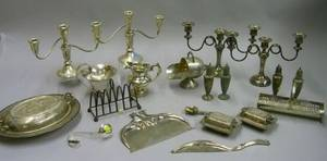 Pair of Sterling Silver Candelabra and and Eighteen Pieces of Silver Plated Tableware