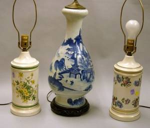 Large Chinese Export Canton Porcelain Vase Table Lamp and Two Europeanstyle Porcelain Canisterform Table Lamp