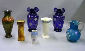 Group of Decorated Ceramic and Glass Table Items