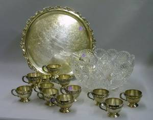 Large Colorless Cut Glass Punch Bowl and Ladle with a Set of Twelve Silver Plated Punch Cups and a Silver Plated Serving Tray