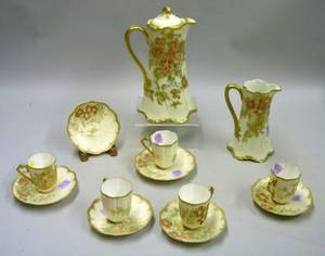 Thirteenpiece Haviland Limoges Handpainted Porcelain Chocolate Set