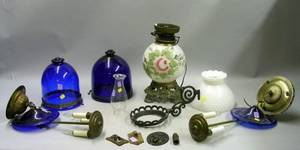 Victorian GonewiththeWind Table Lamp Base an Iron Wall Light Bracket a Hobnail Milk Glass Lamp Shade