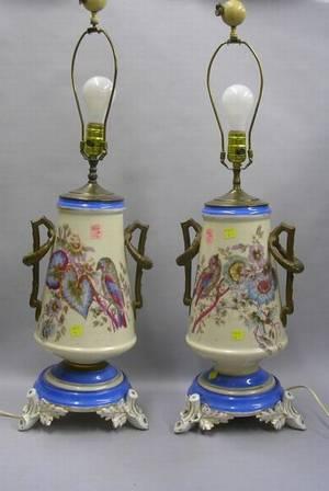 Large Pair of Victorian Paris Porcelain Handpainted TwoHandled Vase Table Lamps