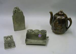 Pewter Ink Standish Inkwell and Warmer and a Rockingham Glazed Teapot