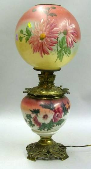Victorian Handpainted Floral Decorated GonewiththeWind Table Lamp