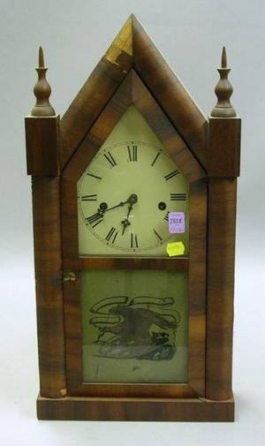 Waterbury Clock Co Mahogany Veneered Steeple Clock