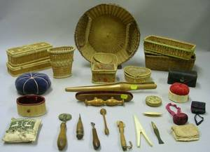 Nine Assorted Small Basketry and Seventeen Sewing and Domestic Articles