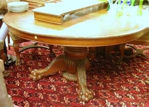 Victorian Northwind Circular Carved Oak Pedestal Dining Table with Paw Feet