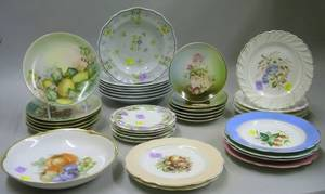 Group of Thirtyfive Assorted Handpainted and Transfer Decorated Porcelain Plates and Bowls
