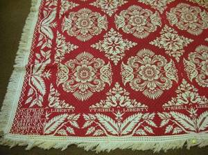1841 Red and White Wool Jacquard Coverlet