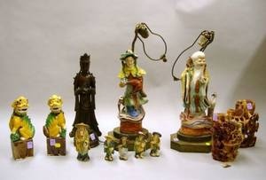 Fourteen Asian Hardstone and Ceramic Figural Items