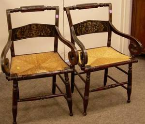 Pair of Classical Grain Painted and Stencil Decorated Armchairs