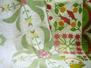 Handstitched Pieced and Applique Cotton Quilt and an Applique Cotton Quilt