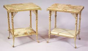 Pair of French Giltmetal and Onyxtop Side Tables