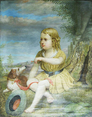 Oil on canvas portrait of a girl with dog