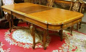 Baroquestyle Parcelgilt and Inlaid Carved Fruitwood and Parquetry Dining Table