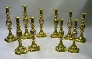 Set of Five Pairs of English Brass Pushup Candlesticks