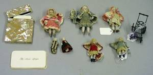 Seven AllBisque Dolls Carriage and Calling Card Box
