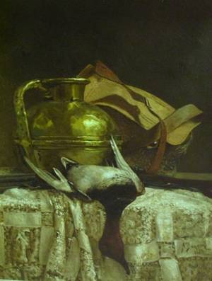 Framed Oil on Canvas Still Life with a Duck and Brass Ewer