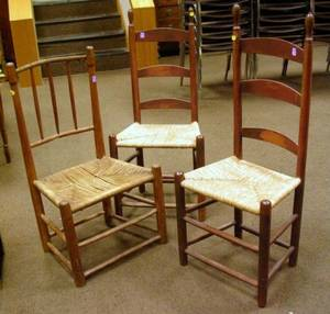 Pair of Red Stained Ladderback Side Chairs and a Country Spindleback Side Chair