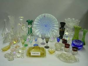 Large Lot of Assorted Colorless and Colored Pressed and Cut Glass Table Items