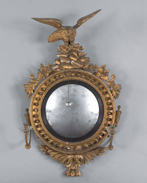 Regency gilt wood convex girandole mirror ca 1800