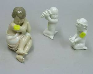 Royal Copenhagen Porcelain Child Figure and Two Danish Porcelain Figures