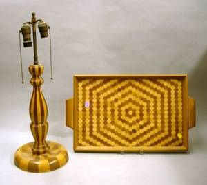 Turned Laminated Twotone Wood Table Lamp and a Parquetry Wood Serving Tray