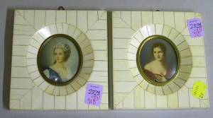 Two Italian Ivory Veneer Framed Miniature Portrait Paintings of Women