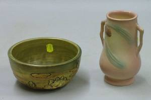 Art Pottery Pine Cone Vase and a Weller Pottery Bowl