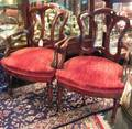 Pair of Late Victorian Rococostyle Walnut Open Armchairs