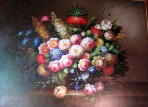 Large Framed Dutchstyle Oil on Canvas Floral Still Life