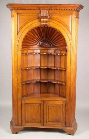 Country Georgianstyle Carved Walnut Corner Cupboard