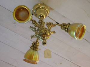 Rococostyle Brass ThreeLight Ceiling Fixture with Three Quezal Ribbed Gold Favrile Glass Shades